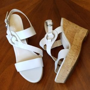 "Franco Sarto Surprise 2 white cork 4"" heel silver"